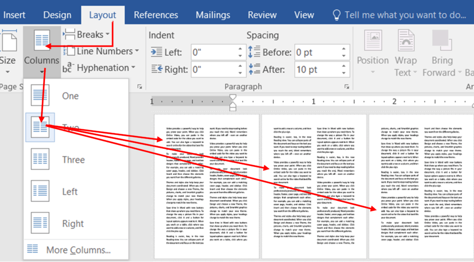 Columns in ms word