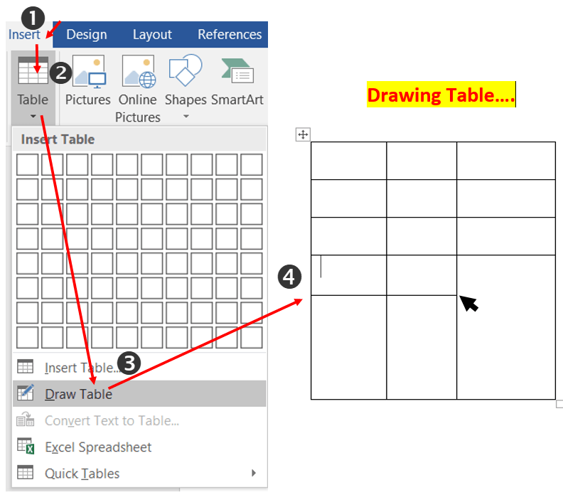 How to Draw table in MS-Word