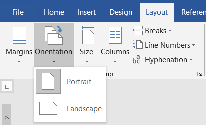 orientations in ms word