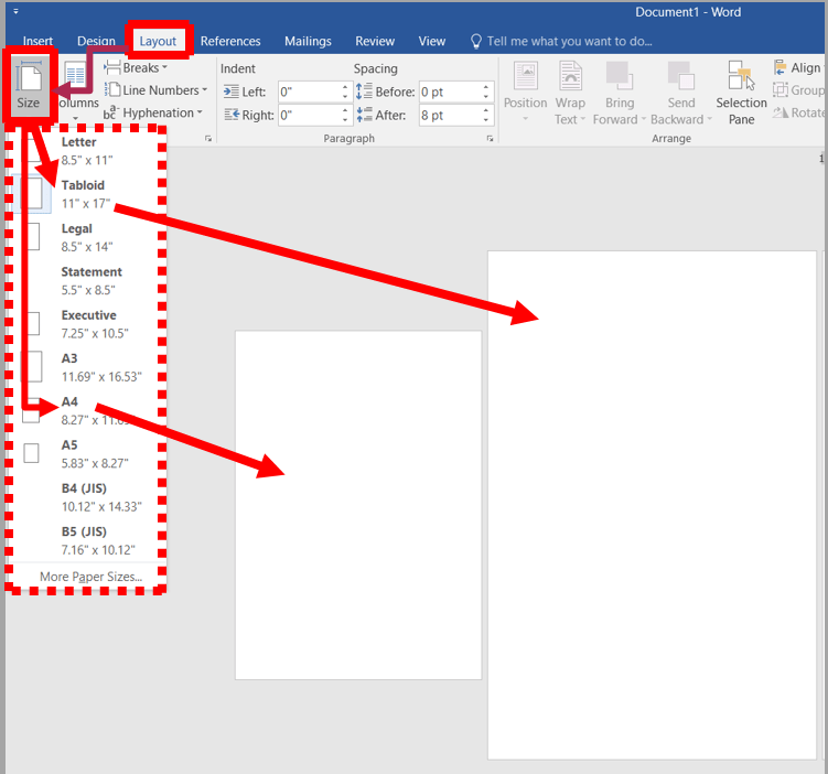 Page setup in ms word | changing page size