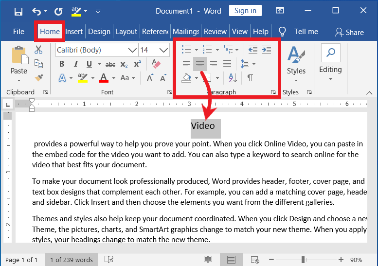 Paragraph Formatting group in MS-Word