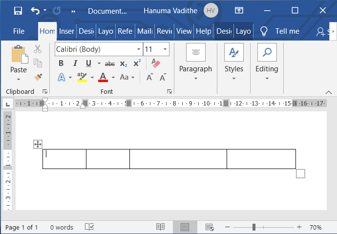 Secret or shortcut to insert the table in ms word