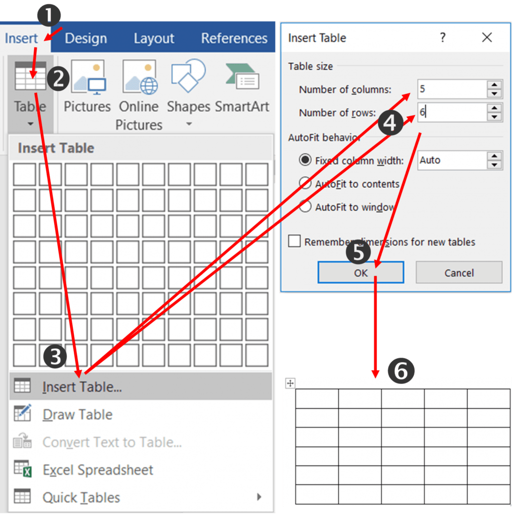 Ways to Insert the Table in MS-Word