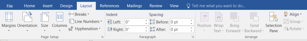 Layout or Page Layout in MS-Word