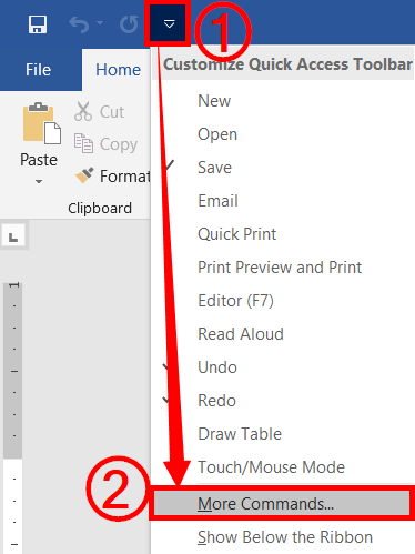 Add commands to quick access toolbar
