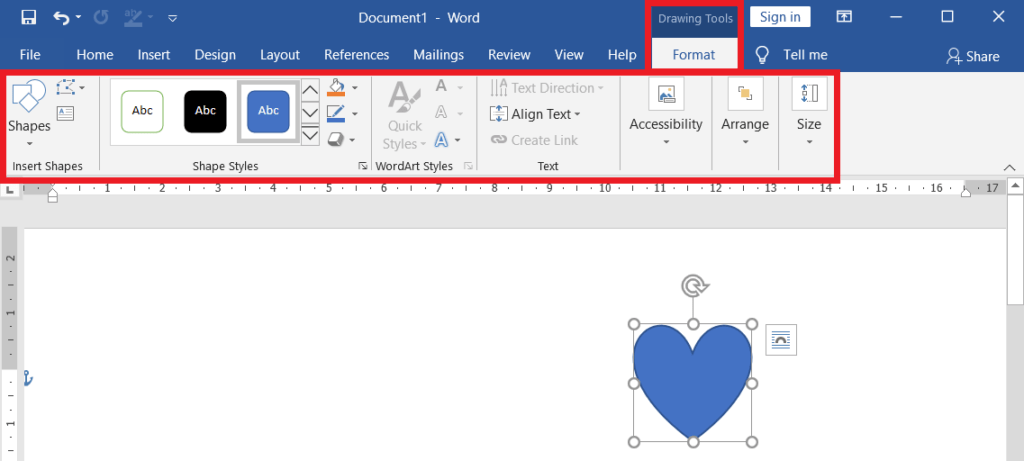 Drawing tools format tab in ms word