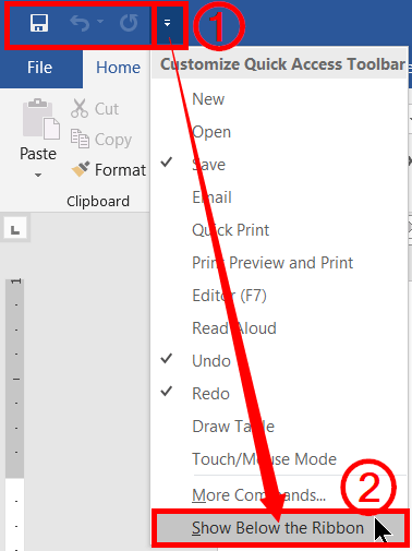 Show below the ribbon in Customize Quick access toolbar