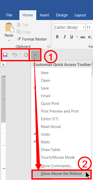 Show the quick access toolbar above the ribbon