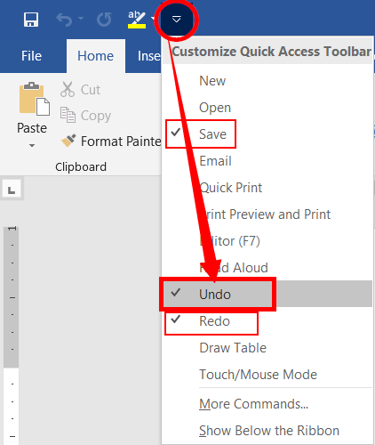 Remove commands from quick access toolbar