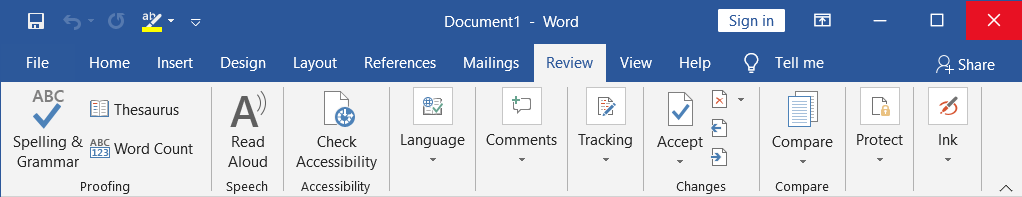 All about Review Tab in MS-Word