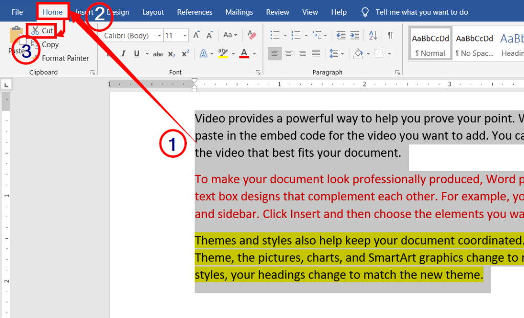 Cutting the contents | paste special in microsoft word