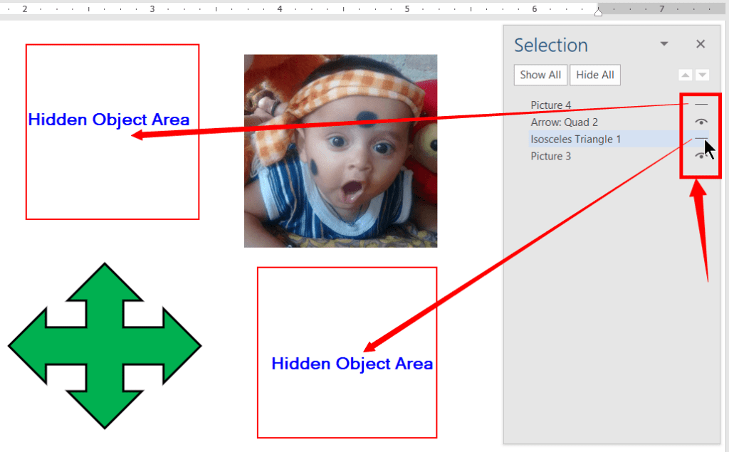 Show or Hide individual objects in selection pane
