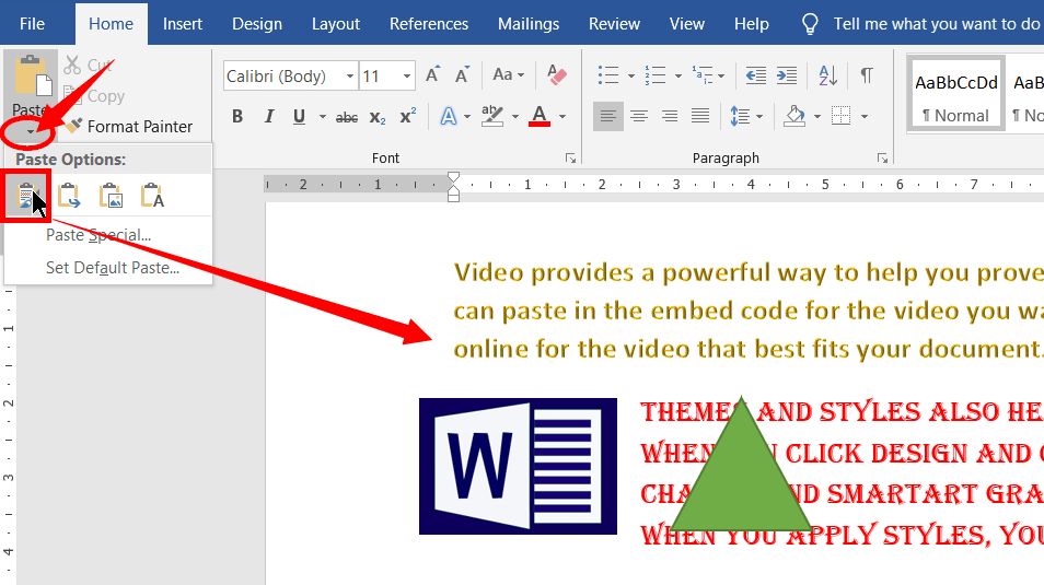 Paste Options in MS Word