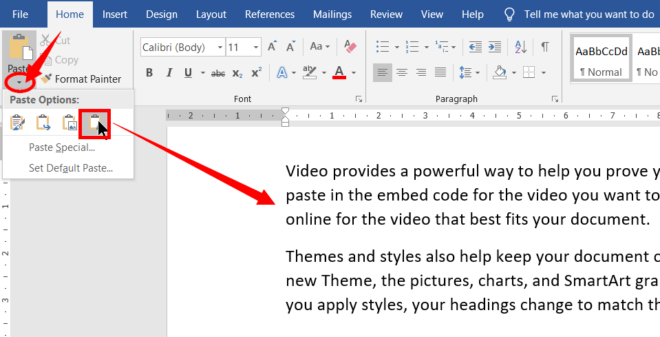 Keep Text Only in Paste Options in MS-Word