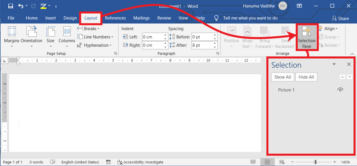 Launching Selection Pane in MS Word