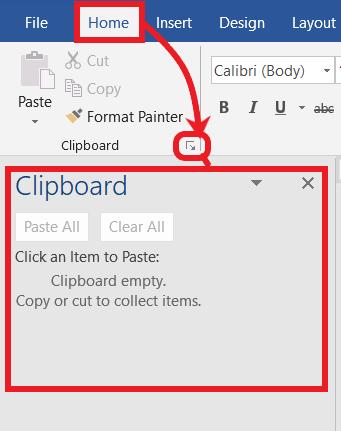 Opening Clipboard task pane