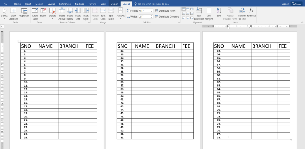 Repeat Header Rows of a Table in MS-Word
