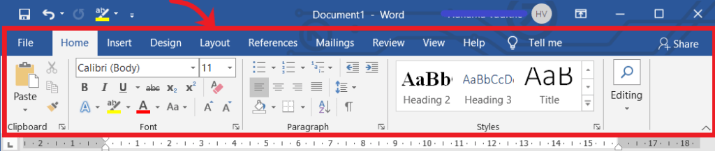 Ribbon in MS Word