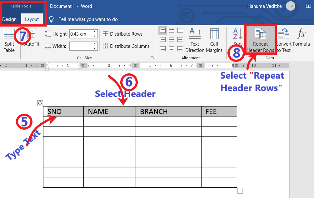 TABLE TOOLS LAYOUT TAB FOR REPEAT HEADER ROWS