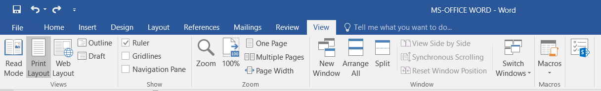 View Tab in MS-Word