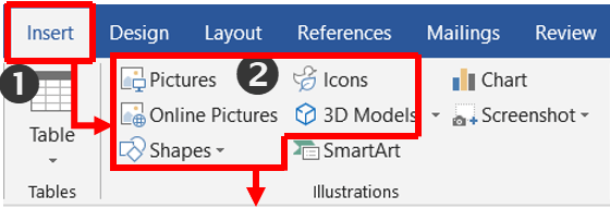 ms word 3d shapes