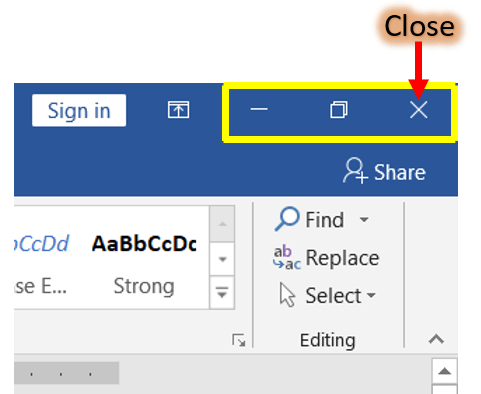 Close a window or word document