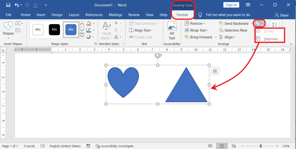 Grouping and Ungrouping the Objects in MS-Word