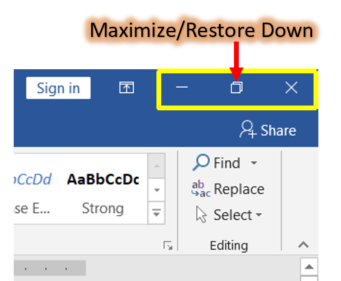 Maximize or Restore down