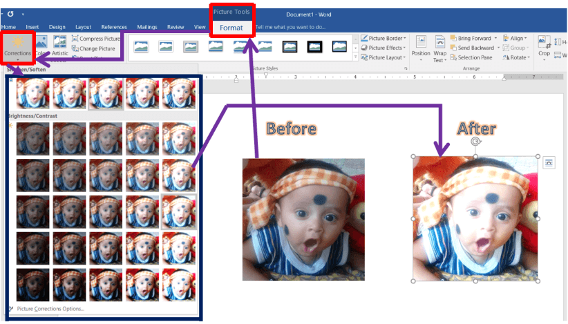 Corrections and Color of a Picture in Microsoft Word​