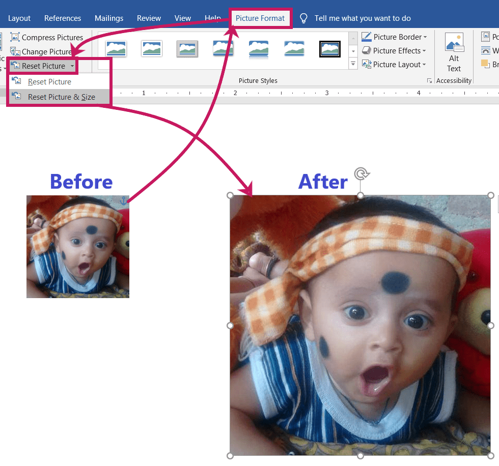 Resetting a Picture in MS-Word