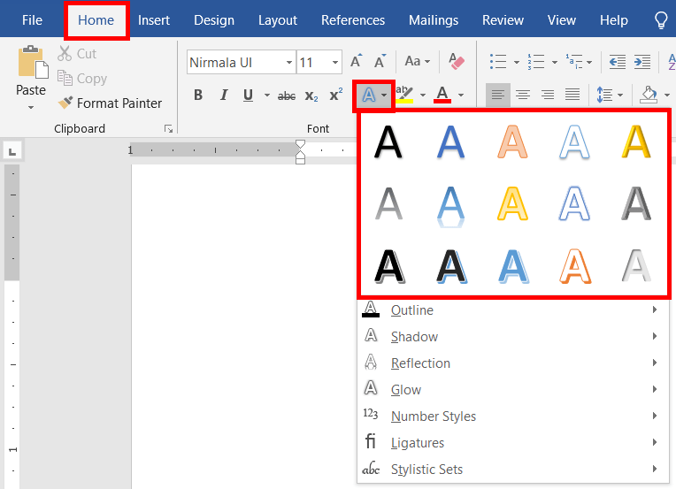 The Text Effects and Typography in MS-Word