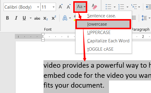 Change lowercase in ms word