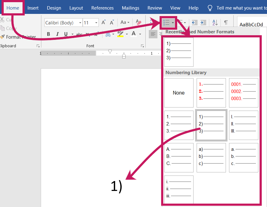 Create a Numbered list in MS-Word