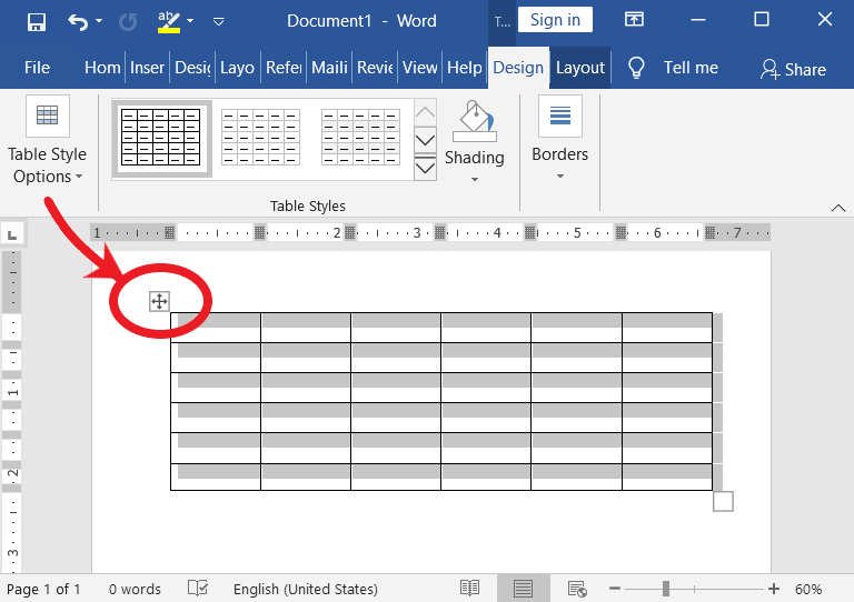 Table selection in MS-Word