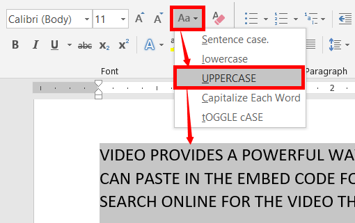 changing uppercase in ms word