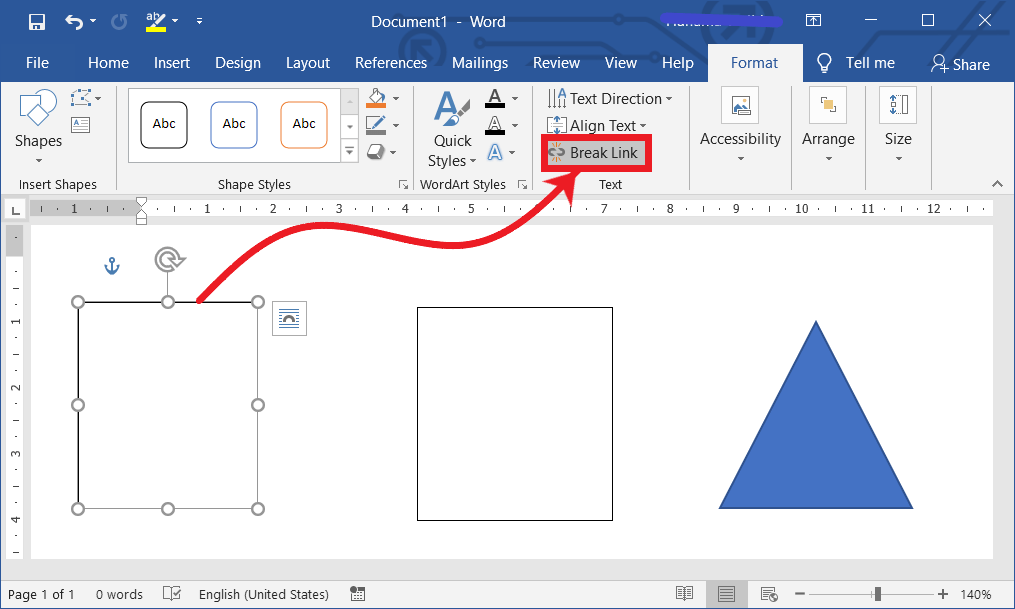 Break a link between the text boxes in MS Word