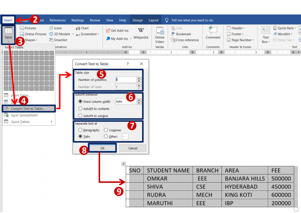 Convert text to table in ms-word