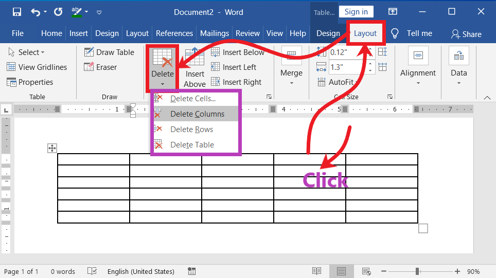 Delete-a-cell-column-or-rows-in-table