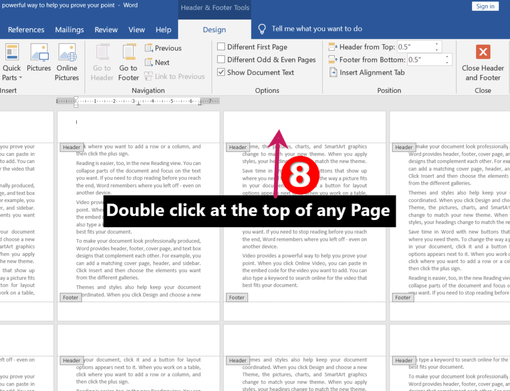 Double clicking at top of any page | Different Headers and Footers for Different Pages in MS-Word
