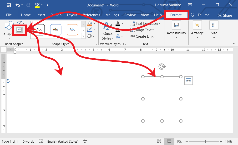 Draw text boxes in ms word