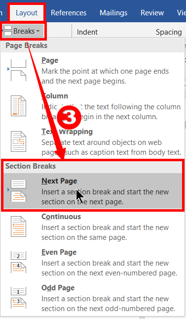 Section-Break in MS Word