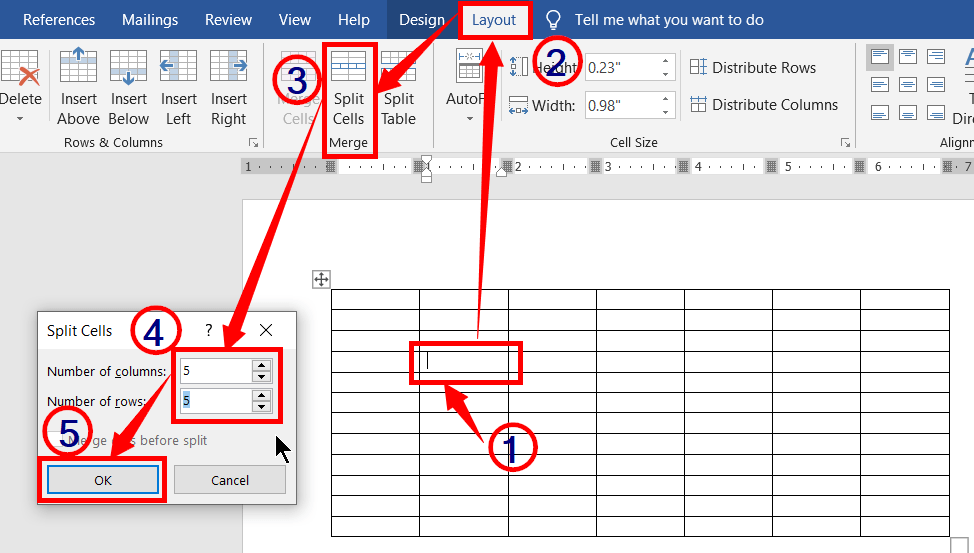 Split cells in a table in ms word