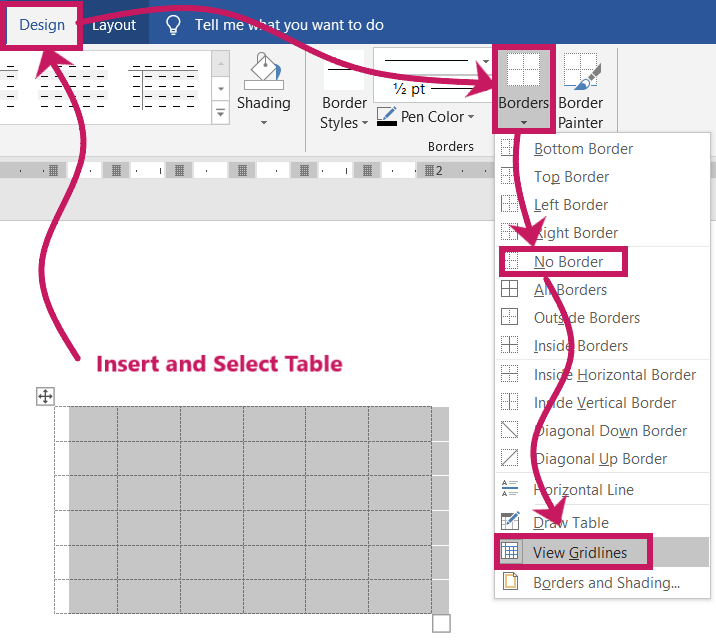 View gridlines of a table in microsoft word