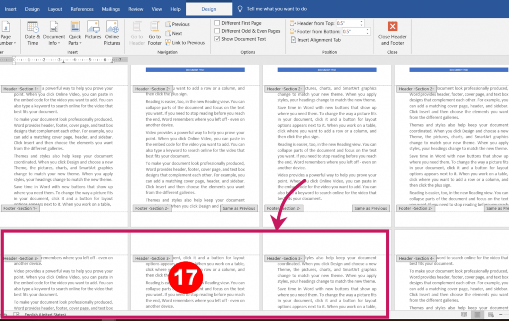 Click for Different Headers and Footers for Different Pages in MS-Word
