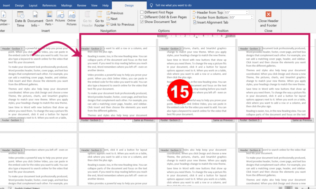 Different Headers and Footers for Different Pages in MS-Word