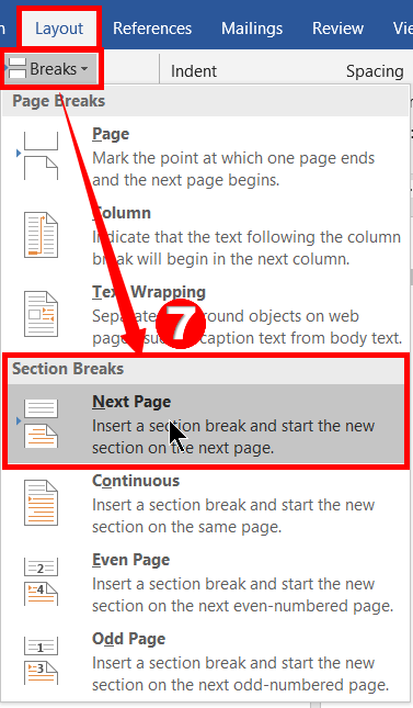 What is Section Break in MS Word