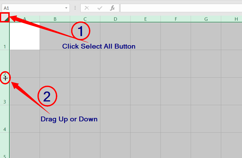 Set the default width of the columns in excel