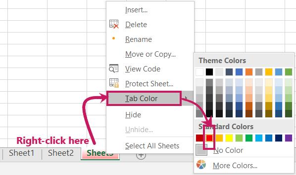 Change worksheet Tab Color in MS-Excel