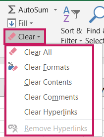 Clear All Formats, Contents, Comments, Hyperlinks in Excel