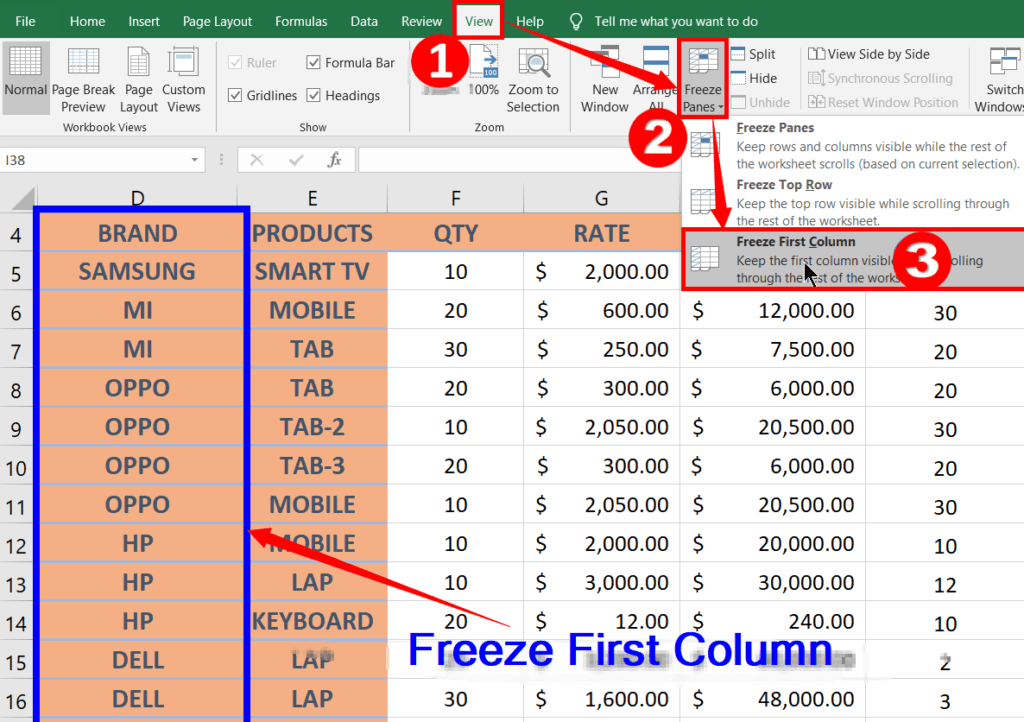 Freeze Panes in MS-Excel 2019, 2016, 2013, 2010, and 2007
